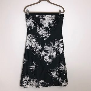 Ann Taylor strapless black and white floral dress.